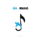 Human hand icon with Musical note vector logo design template. The best music Template Design.OK music concept.Design for greeting Card,Poster,Flyer,Cover Stock Photography