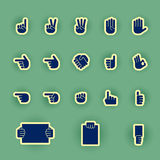 Human hand icon set isolated on green Stock Photos