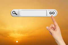 Human hand indicates the search bar in browser Royalty Free Stock Photo