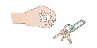 Human hand and keys Stock Photo