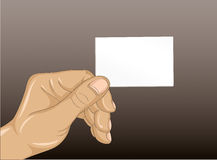 Human hand lady business card with your fingers. Empty space for Stock Images