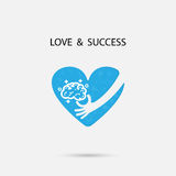 Human hand,light bulb and heart  logo vector design with brain,l Royalty Free Stock Photo