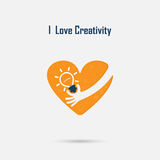 Human hand,light bulb and heart logo vector design with brain,l vector illustration