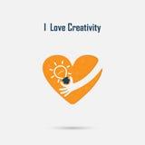 Human hand,light bulb and heart  logo vector design with brain,l Stock Photos