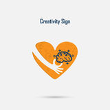 Human hand,light bulb and heart  logo vector design with brain,l Stock Image