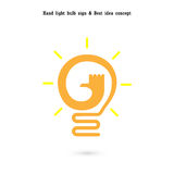 Human hand and light bulb icon vector design.The best idea Stock Images