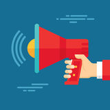 Human Hand with Loudspeaker - Business Concept Illustration in Flat Design Style Royalty Free Stock Image