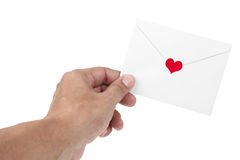 Human hand and love letter Stock Photos
