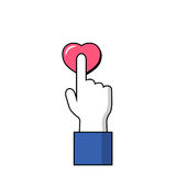 Human hand on love symbol. Hand and finger icon. Pointing finger on pink heart button. Human hand on love symbol. Hand and finger icon. Signal finger click on Royalty Free Stock Image