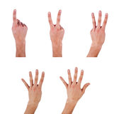 Human hand make a numbers. Human hand make a number one,two,three,four five on isolated background Stock Photo