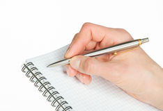 Human hand making notes on the paper Royalty Free Stock Image