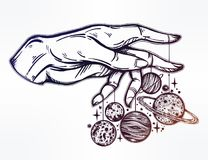 Human hand, marionette puppet planets illustration. Flash Astronomy. Human hand, marionette puppet moon and planets, celestial drawing. Dotwork ink tattoo Stock Image
