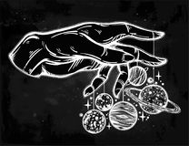 Human hand, marionette puppet planets illustration Royalty Free Stock Images