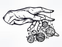 Human hand, marionette puppet planets illustration. Flash Astronomy. Human hand, marionette puppet moon and planets, celestial drawing. Dotwork ink tattoo Royalty Free Stock Photography