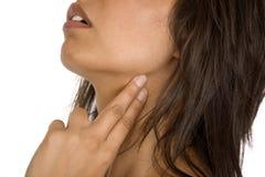Human hand measuring neck pulse Royalty Free Stock Image