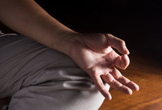 Human hand in meditation posture Royalty Free Stock Photography