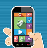Human hand mobile colorful shipping UI apps flat i Stock Images