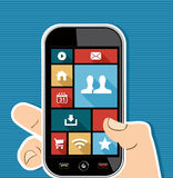 Human hand mobile colorful social media UI apps fl Stock Image
