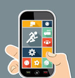 Human hand mobile colorful Sports UI apps flat ico royalty free illustration