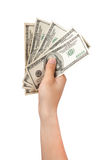 Human hand with money. Isolate on white Stock Images