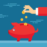 Human Hand and Moneybox Piggy. Illustration in flat design style Royalty Free Stock Images