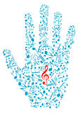 Human hand with musical notes Stock Photo