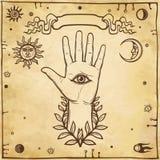 Human hand, mystical symbols. Eye of Providence. Stock Images