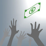Human Hand need money cash falling money. Vector Illustration., vector illustration in flat design. Human Hand need money cash falling money . Vector Royalty Free Stock Images