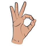 Human hand, OK sight, fingers showing symbol of a great state. Human hand, showing OK sight, fingers showing symbol of a great state. Vector isolated sketch Stock Images