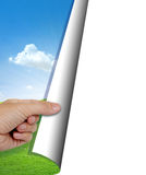 Human hand opening nature background. With copy space stock illustration