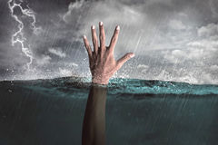 Human hand out from water Royalty Free Stock Images