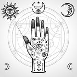 Human hand painted with magic symbols. Alchemical circle of transformations. Signs of the moon and sun. Vector illustration isolated on a white background Royalty Free Stock Photos