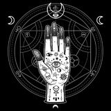 Human hand painted with magic symbols. Alchemical circle of transformations. Signs of the moon. Vector illustration isolated on a black background. Print Stock Photo