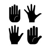 Human hand palms. Vector hand palms icons set Vector Illustration
