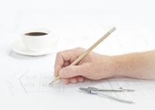 Human hand with pencil. Royalty Free Stock Images