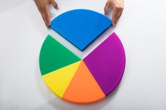 Human hand placing final piece into pie chart. Human hand placing final blue piece into multi colored pie chart royalty free stock images