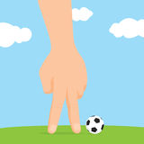 Human hand playing imaginary miniature soccer Stock Photo