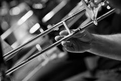 Human Hand playing the trombone closeup Stock Photography