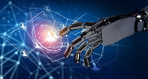 Human hand point in the center of social network icons. 3d rendering. Robot hand point in the center of social network icons. Over dark blue background. 3d Royalty Free Stock Photo