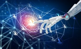 Human hand point in the center of social network icons. 3d rendering. Robot hand point in the center of social network icons. Over dark blue background. 3d Royalty Free Stock Photos