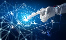 Human hand point in the center of social network icons. 3d rendering. Robot hand point in the center of social network icons. Over dark blue background. 3d Stock Images