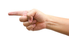 Human Hand Point With Finger. Human Hand Point With Finger Isolated On White Royalty Free Stock Images