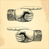 Human handpoint,sketch style vintage. Human hand point sketch style vintage isolated on grunge background Stock Photography