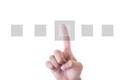 Human Hand Pointing squares Over White Background Royalty Free Stock Image