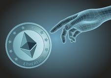 Human hand pointing to ethereum Royalty Free Stock Photography
