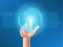 Human hand presses on display. Human hand press with the index finger on touchscreen, clicks his finger on the glowing holographic screen. Interface design Stock Photos