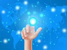 Human hand presses on display. Human hand press with the index finger on touchscreen, clicks his finger on the glowing screen. Interface design concept on a blue Stock Photography
