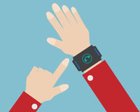 Human hand press telephone icon on smart watch Stock Images