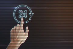 Human Hand Pressing 24 Hours Icon. On Light Motion Background and Lens Flare - Digital 3d Effect Style Color stock photo