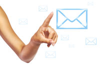 Human hand pressing mail icon. Over isolated background stock images